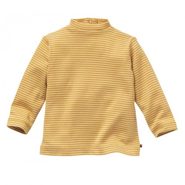 People wear Organic Langarm Ringelshirt Stehkragen senfgelb