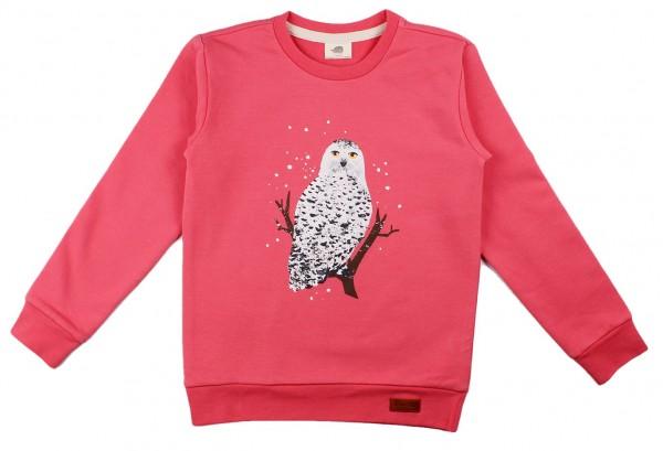 Walkiddy Mädchen Sweatshirt pink Schnee-Eule Biobaumwolle