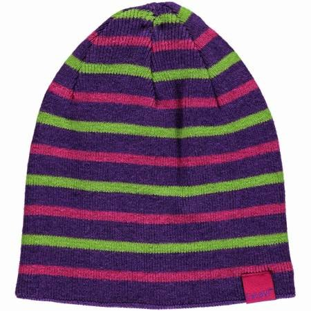 Celavi Wintermütze Kinder Strickmütze dark purple pink gestreift