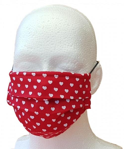 Alltagsmaske für Erwachsene rot mit Herzchen Mund-Nasen-Maske