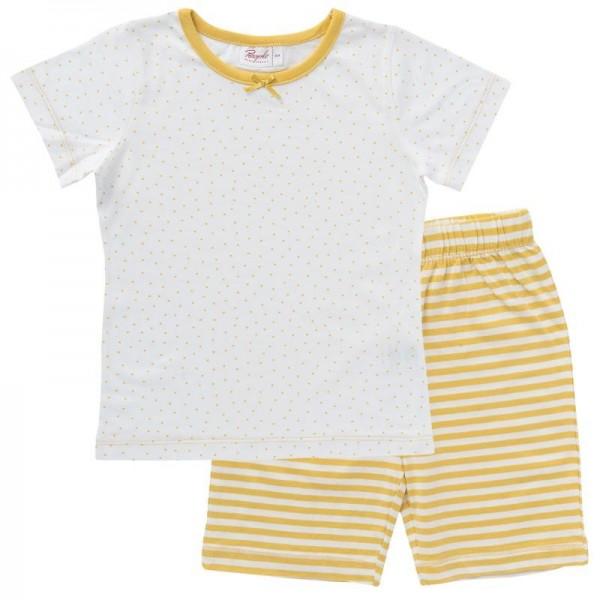 Mädchen Sommer Pyjama gelb/weiß Dots Bio-Baumwolle