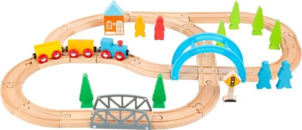 Holzeisenbahn Set 40 tlg. mit Schienen , Brücken und Zug