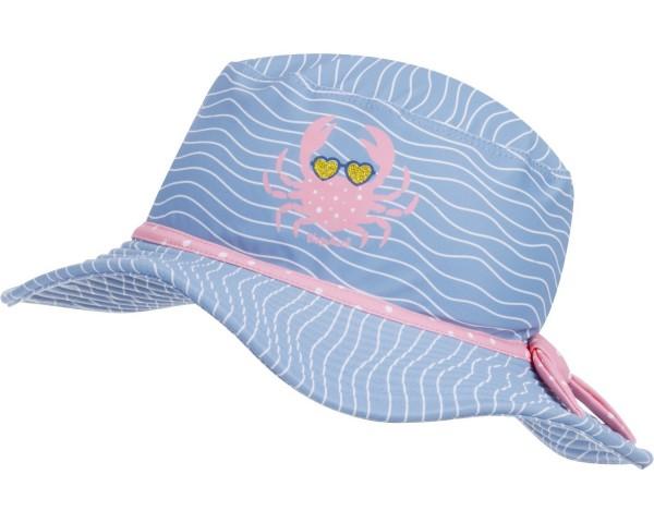 Mädchen UV-Schutz Sonnenhut Krabbe Strandhut hellblau
