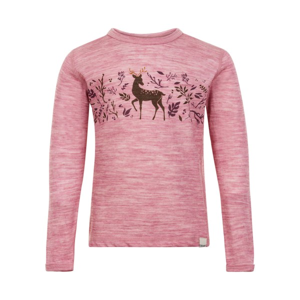 Celavi Langarmshirt rosa melange Hirsch Merinowolle mit Bambus