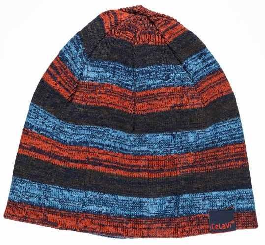 Celavi Wintermütze Kinder Strickmütze blau/türkis/orange melliert Ringel