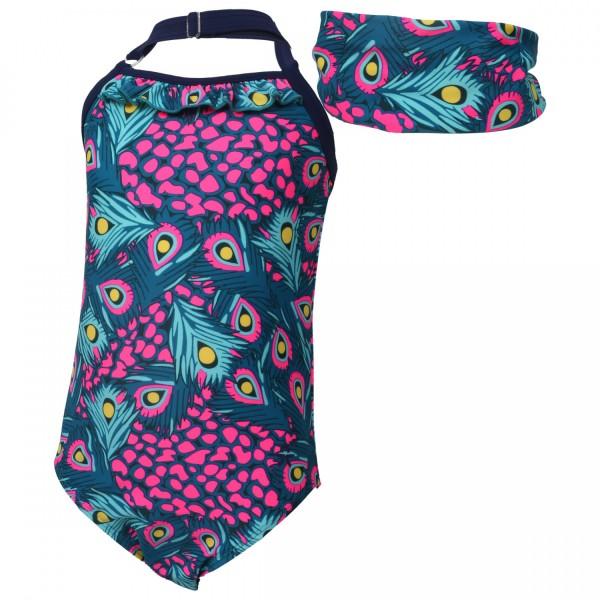 Color Kids Mädchen Badeanzug TORDIS + UV Schutz Bandana im Set