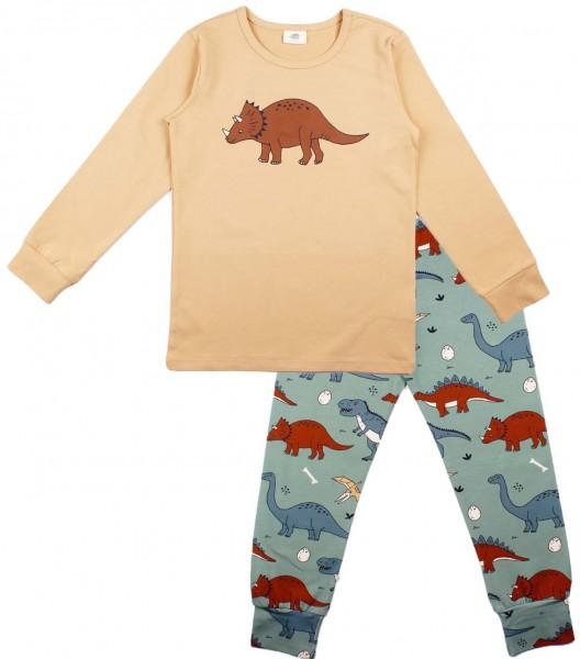 Walkiddy Dinosaurier Schlafanzug beige/oceangreen Funny Dino GOTS