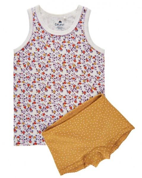 Celavi Mädchen Unterwäsche Set Blümchen maisgelb