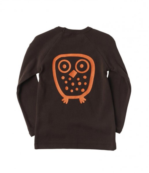 Ej sikke lej Basic Langarmshirt Big Owl Eule coffee bean
