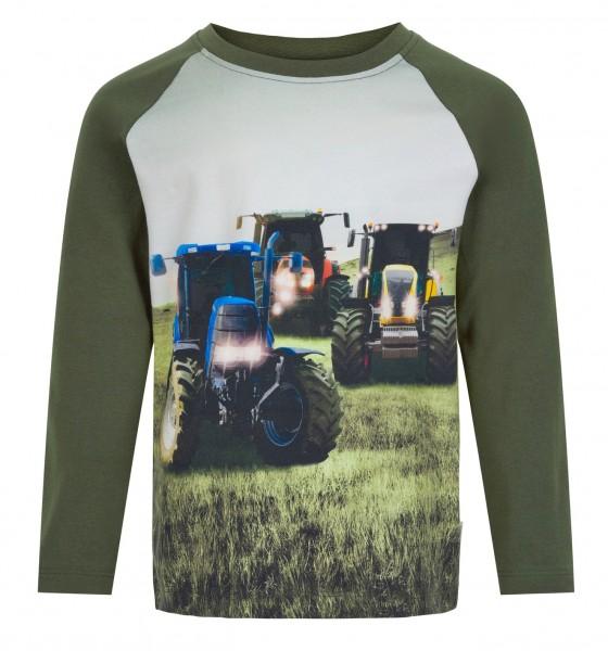 Minymo Traktor Langarmshirt olivgrün mit 3 Traktoren