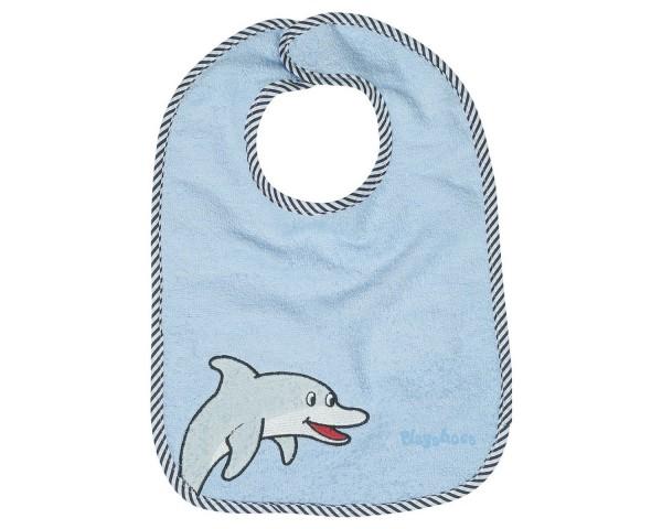 Frottee Klett-Lätzchen Delfin hellblau