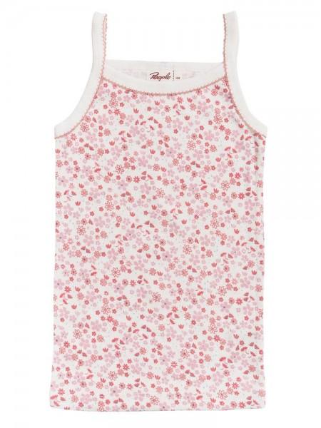People Wear Organic Mädchen Unterhemd rosa Blümchen Bio-Baumwolle
