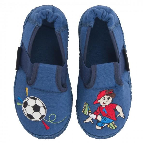 Nanga Jungen Hausschuhe Fußballer blau Bio-Baumwolle