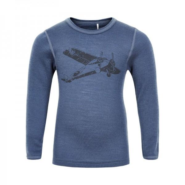 Celavi Wollshirt jeansblau mit Flugzeug Unterhemd Merino Schurwolle