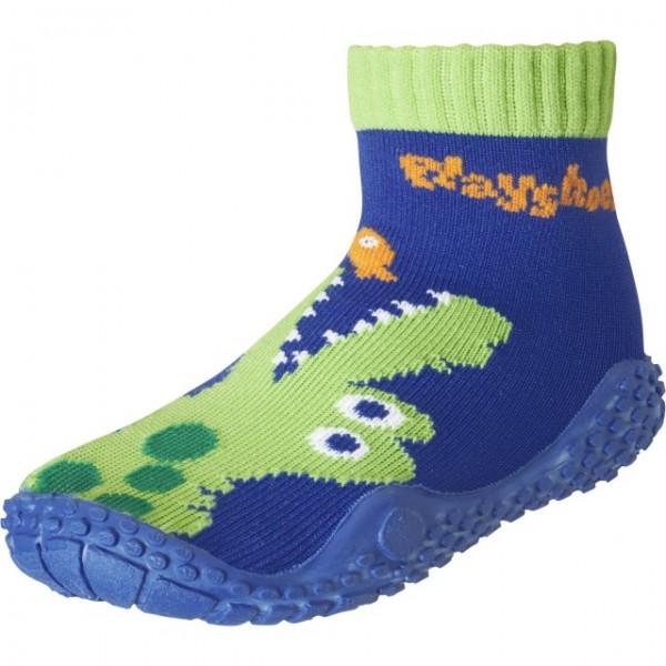 Aquasocken Barfußsocken Krokodil blau/grün