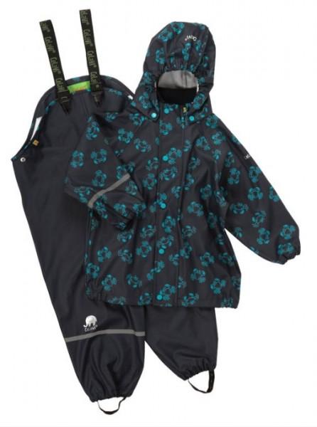 CeLaVi Regenset blau mit Krabben Regenhose + Regenjacke