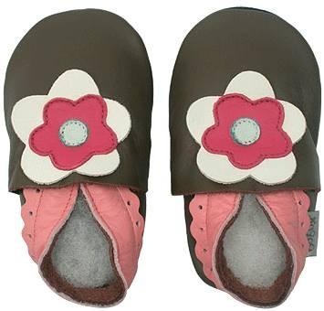 Bobux Mädchen Krabbel-Schuhe teak/pink Blüte