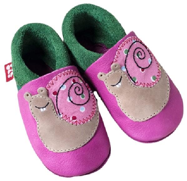 Pololo Leder Hausschuhe Schnecke pink/rosa