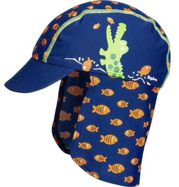 UV Schutz Sonnenhut Sonnenmütze marine mit Krokodil und Fischen