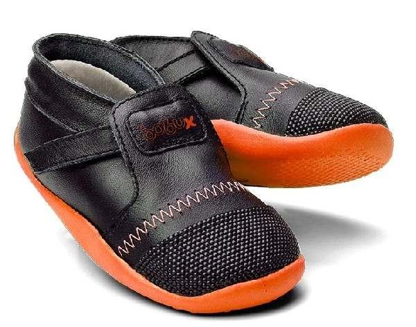 Bobux Xplorer black/orange ARCTIC Lauflernschuhe mit Wollfutter