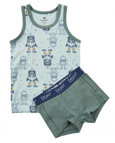 Celavi Jungen Unterwäsche Set Astronaut grün