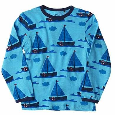 Ej sikke lej Kinder T-Shirt Segelboot Langarm türkis