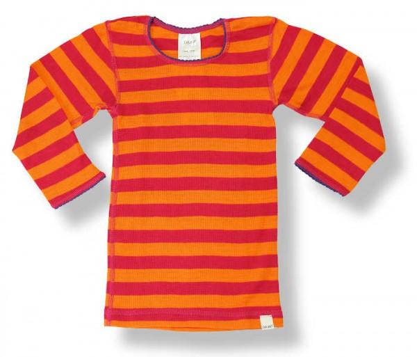 Celavi Mädchen Langarmshirt Wolle orange/rot Blockstreifen