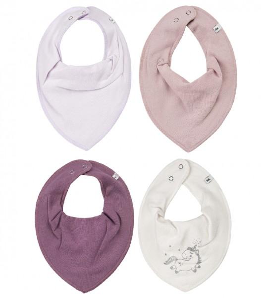 Pippi Mädchen Dreieckstücher purple Unicorn 4er Pack