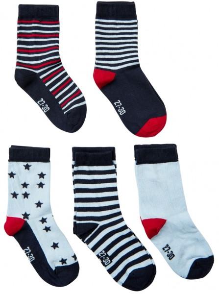 Minymo Kinder Socken navy/skyblue 5er Sparpack Kindersöckchen