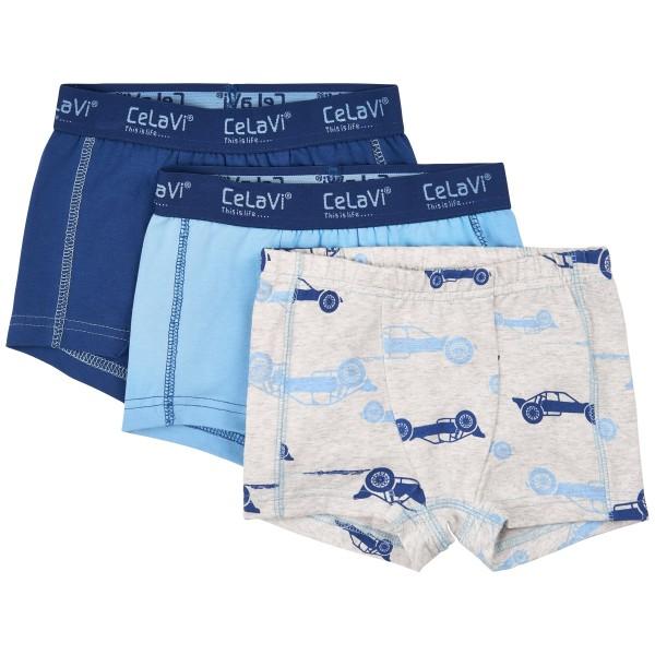 Celavi Jungen Boxershorts blue Cars 3er Pack