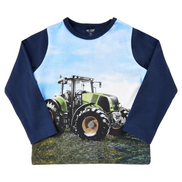 Metoo Langarm T-Shirt Traktor grün/blau