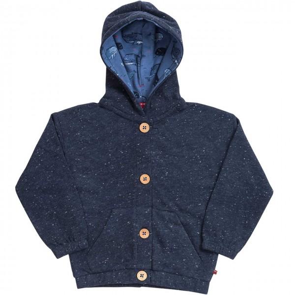 Leichte Sweatjacke blau melange mit Kapuze Bio-Baumwolle