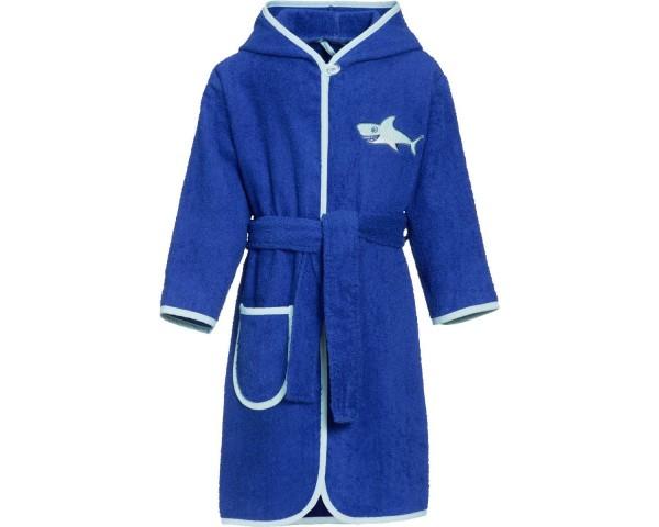 Kinder Bademantel Frottee Haifisch blau