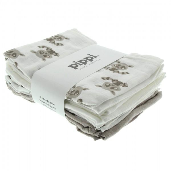 Pippi Stoffwindeln Waschbären weiß/sand 8er Pack