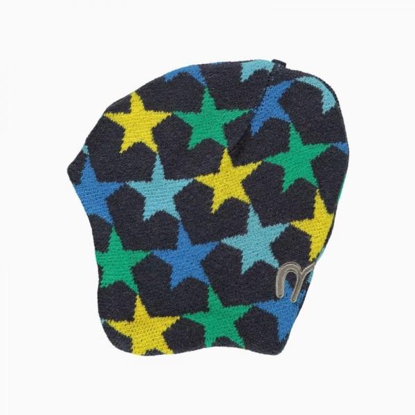 Minymo Wintermütze Strickmütze grün Sterne Td49