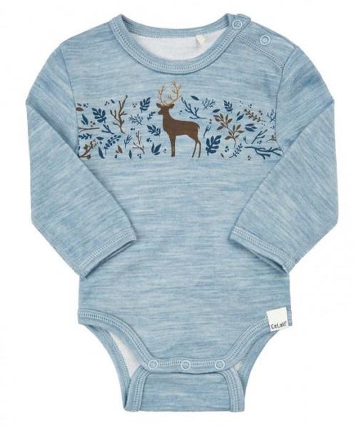 Celavi Baby Body Wolle hellblau melange mit Reh