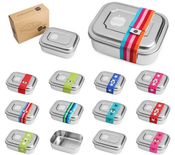 Brotzeit ZWEIER Brotdose Lunchbox Edelstahl mit Gummiband