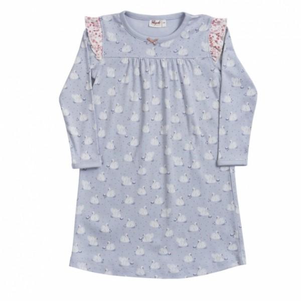 Mädchen Nachthemd hellblau Schwäne Bio-Baumwolle