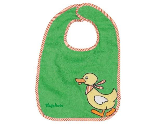 Frottee Klett-Lätzchen Ente grün mit Klettverschluß