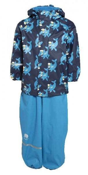 CeLaVi Regenanzug azur blue Hai Set Regenhose + Regenjacke
