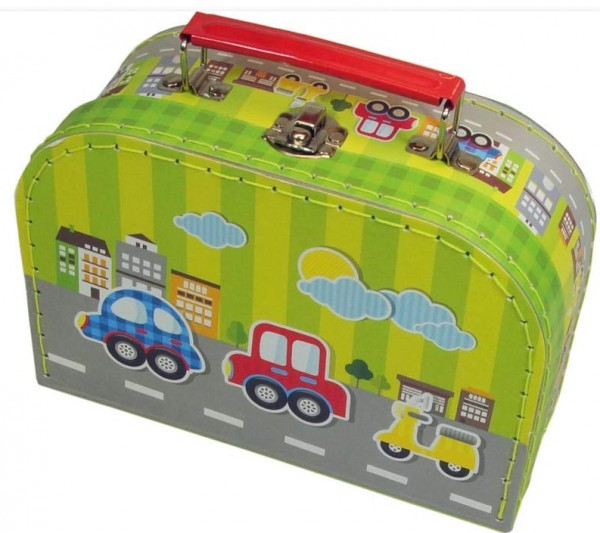 Pappkoffer Kinder Koffer aus Pappe grün Autos