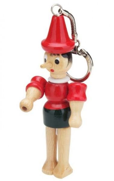 Pinocchio - Holzfigur Schlüsselanhänger 10 cm mit Schlüsselring