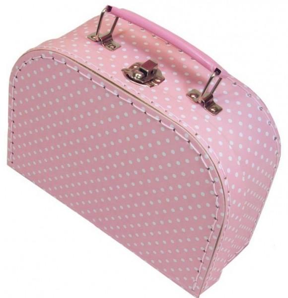 Pappkoffer Mädchenkoffer aus Pappe rosa mit Pünktchen