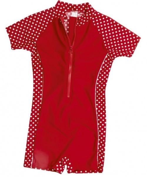 UV-Schutz Mädchen Sonnenschutzanzug Pünktchen rot/weiß Overall