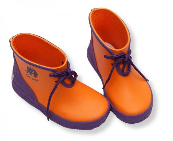 CeLaVi Kautschuk Gummistiefel Kurzschaft Booties orange / lila