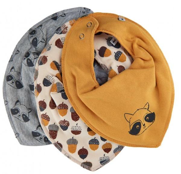 Pippi Baby Halstücher 3er Pack grau/gelb mit Waschbär-Motiv