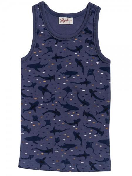 People Wear Organic Jungen Unterhemd Haie + Rochen blau Bio-Baumwolle