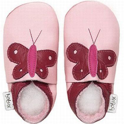 Bobux Krabbelschuhe Schmetterling rosa / cranberry