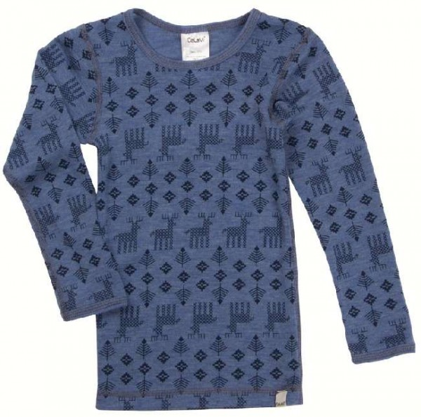 Celavi Langarmshirt blau melange Elche Unterhemd Wolle