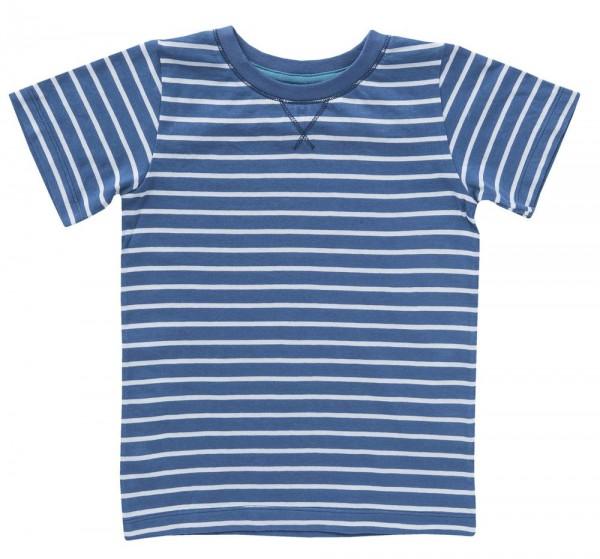 Kinder BIO T-Shirt Kurzarm jeansblau geringelt GOTS